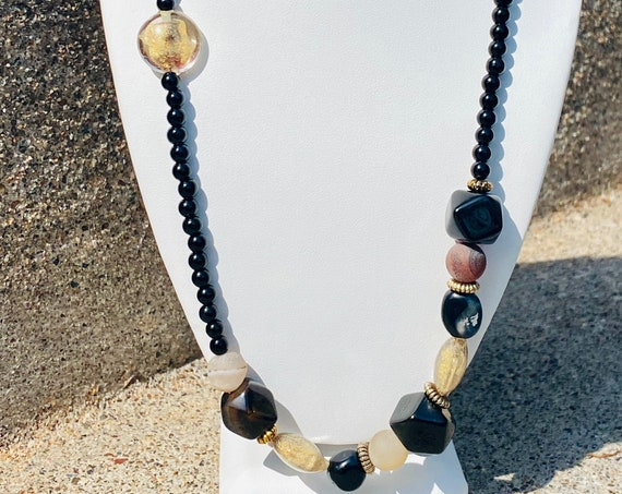 Black + Gold + Ivory Agate Stone Necklace