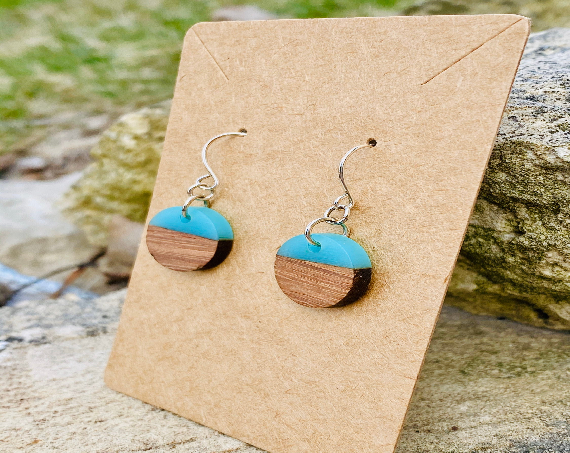 Wood & Sea Blue Resin Disc Earrings (15mm)