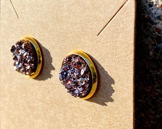 Rose Gold Druzy Stud Earrings (12mm)