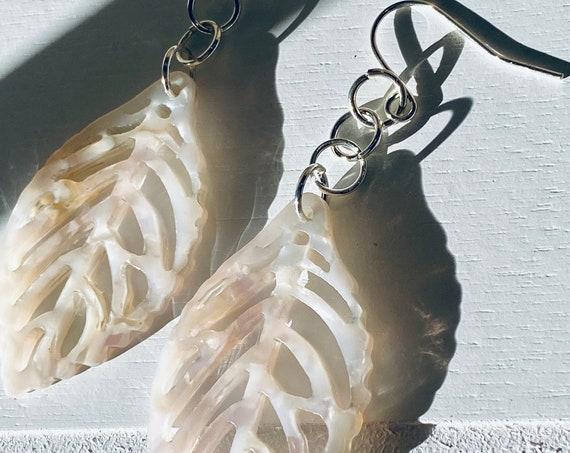 Ivory & Cream Leaf Cutout Charm Earrings
