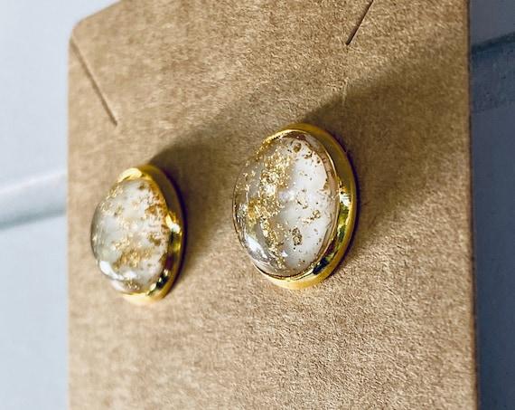 Gold Flake Resin Stud Earrings