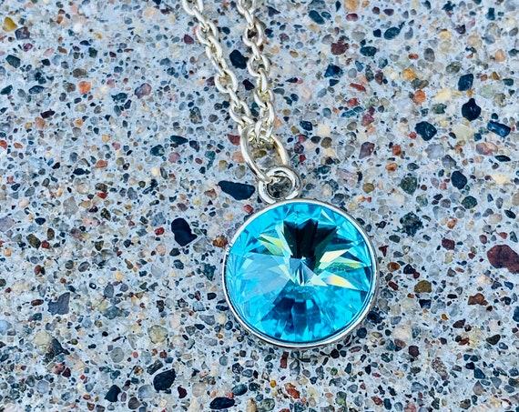 Turquoise Swarovski Crystal Necklace (December Birthday)