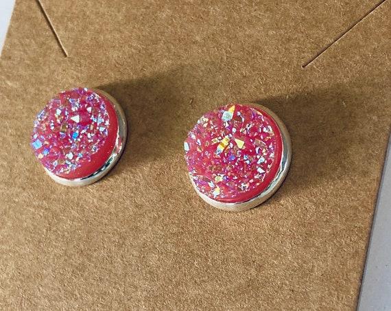 Pink Druzy Stud Earrings (12mm)