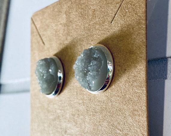 Gray Druzy Stud Earrings (12mm)