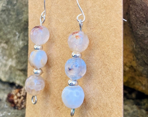 Neutral Agate Stone Dangle Earrings | Dangle Earrings | Chic | Unique Style | Silver | Gift for her | Agate Stones | Gold | Jewelry for her
