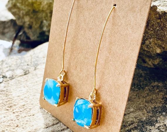 Hazy Turquoise Signature Glass Charm Earrings