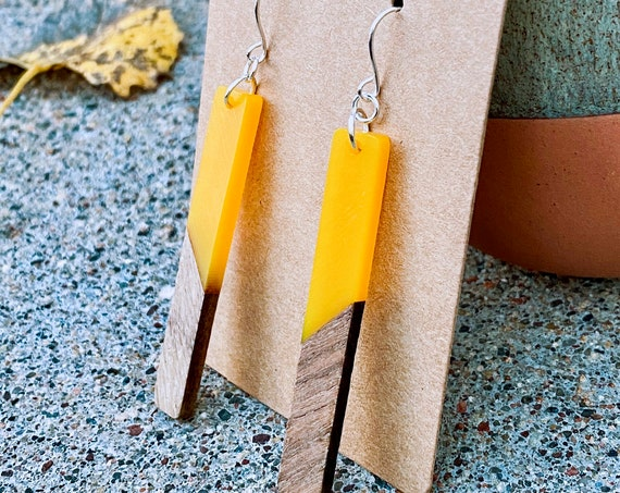 Sunshine Yellow Resin & Wood Earrings