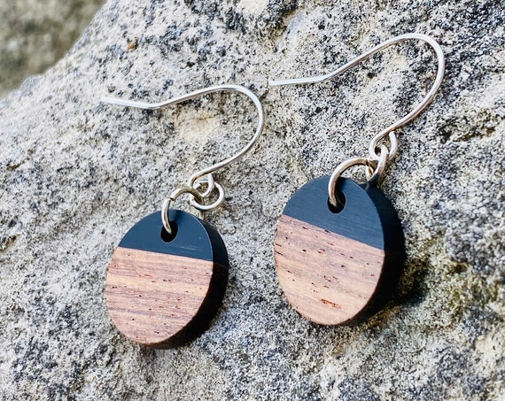 Wood & Jet Resin Disc Earrings (15mm)