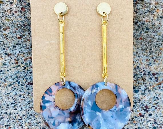 Satin Gold Bar Drop Earrings w/ Brown & Cream Pendants