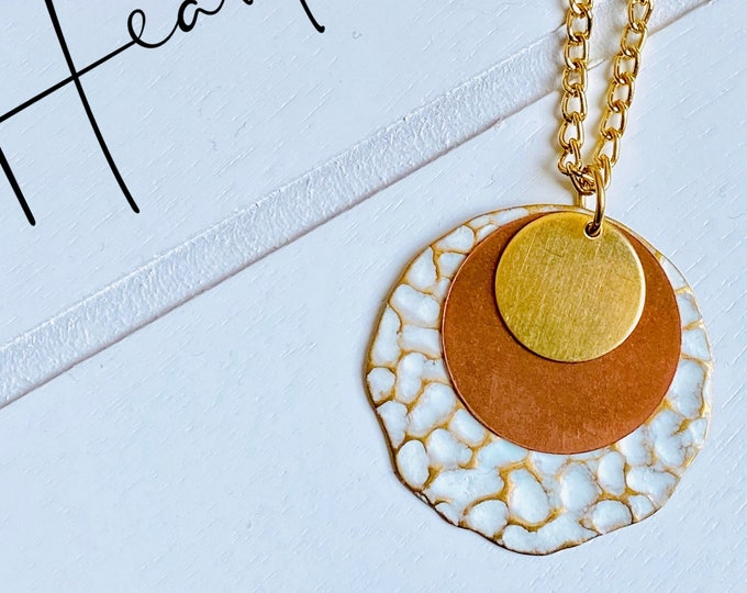 White + Copper + Gold Stacking Circle Pendant Necklace (inspired by Dear Heart)
