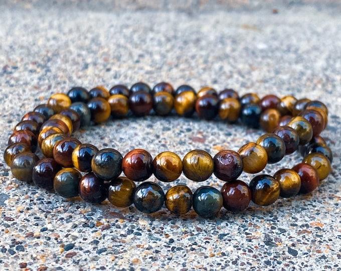 Multi-Color Tiger Eye Wrap Bracelet | 6mm Stone (inspired by Dear Heart)