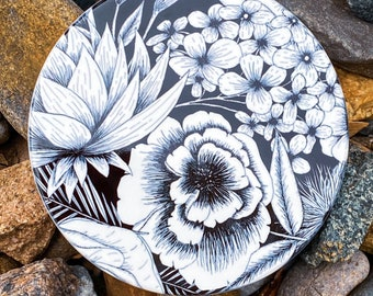 Black and White Flower Inspired Coasters   One-of-a-kind