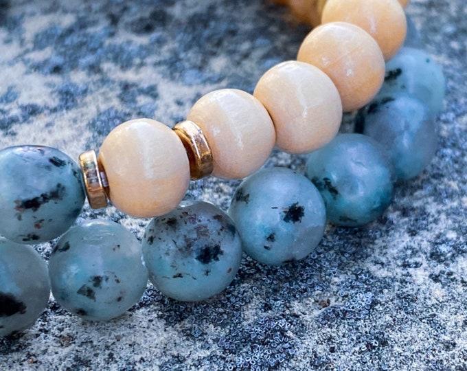 White Kiwi Stone + Light Wood Bracelet (inspired by Lisa Michelle)
