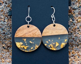 Wood & Clear Resin with Gold Foil Disc Earrings (28mm) (inspired by Dear Heart)