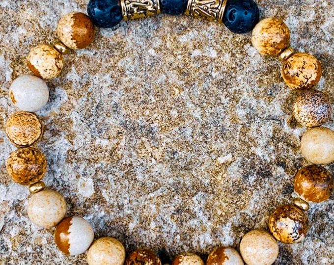 Picture Jasper Lava Stone Bracelet