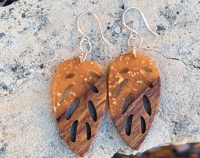 Wood + Peach Resin Leaf Pendant Earrings w/ Gold Foil (inspired by Dear Heart)