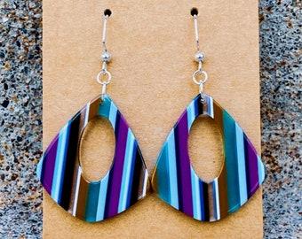 Peacock Stripe Pear Earrings (inspired by Dear Heart)