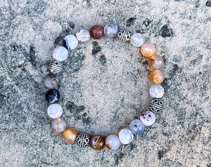 Silver Carved + Faceted Agate Stone Bracelet (inspired by Dear Heart)