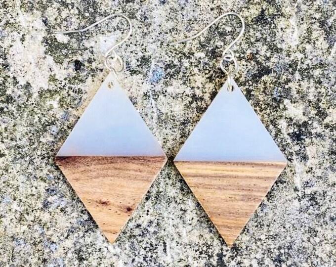 Wood & Cream Diamond Earrings (inspired by Dear Heart)