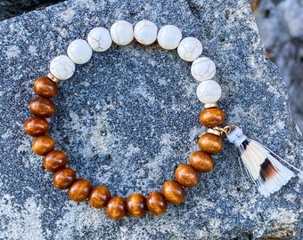 White Crackle Howlite + Earth Tone Wood Bracelet (inspired by Dear Heart)