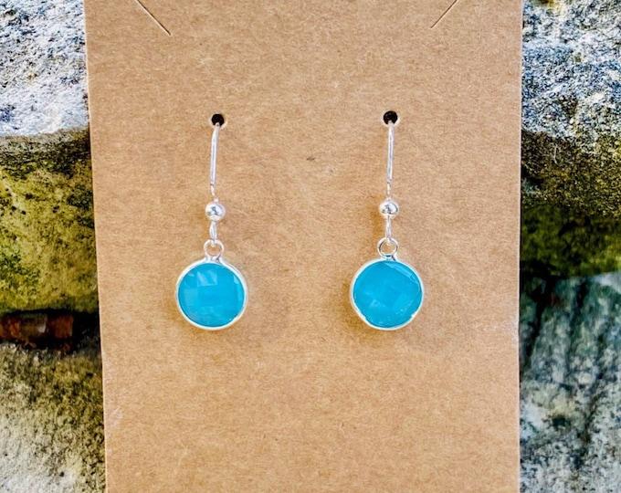 Aqua Faceted Charm Earrings (10 mm) (inspired by Dear Heart)