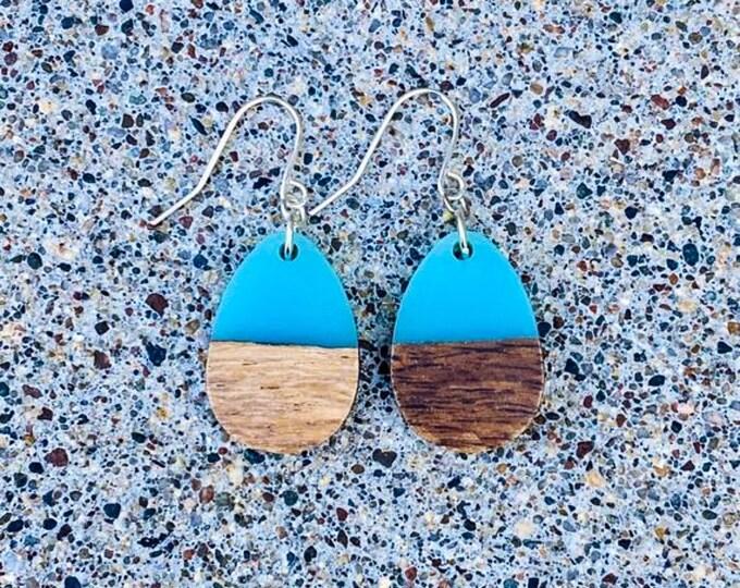 Wood & Sea Blue Resin Solid Drop Earrings (inspired by Dear Heart)
