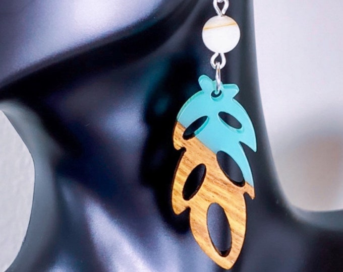 Wood + Green Turquoise Resin Leaf Pendant Earrings w/ White Shell (inspired by Dear Heart)