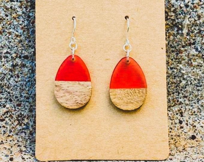 Wood & Pink Berry Resin Solid Drop Earrings (inspired by Dear Heart)