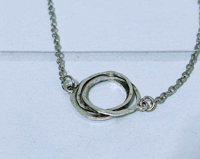 Antique Silver Textured Charm Necklace (inspired by Dear Heart)