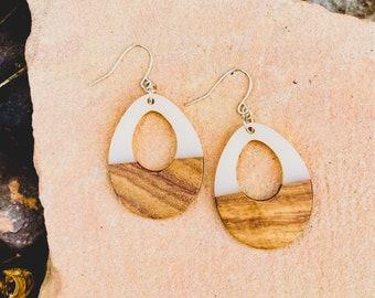 Wood & Cream Resin Teardrop Earrings (inspired by Dear Heart)