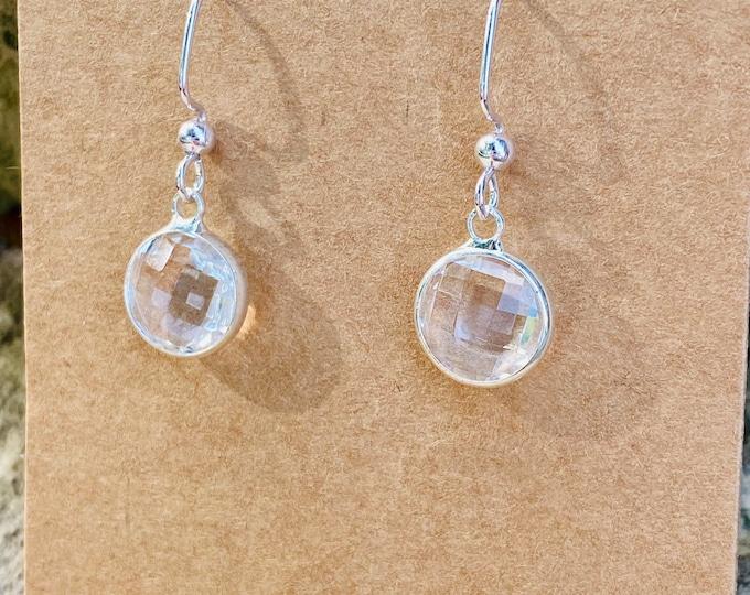 Clear Faceted Charm Earrings (10 mm) (inspired by Dear Heart)