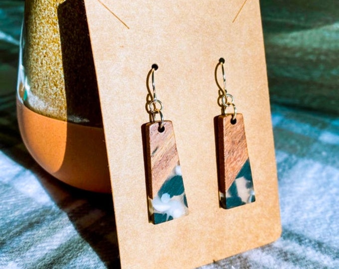 Wood & Black and White Dotted Resin Rectangle Earrings (inspired by Dear Heart)