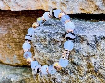 White Ivory & Gold Lava Bracelet (inspired by Dear Heart)