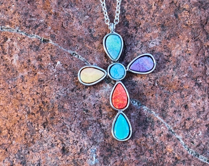 Multicolored Resin Cross Pendant Necklace (inspired by Dear Heart)