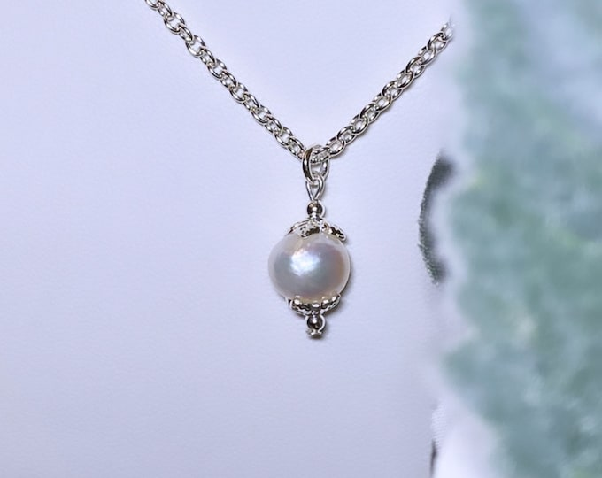 Pearl + Silver Leaf Pendant Necklace (inspired by Dear Heart)