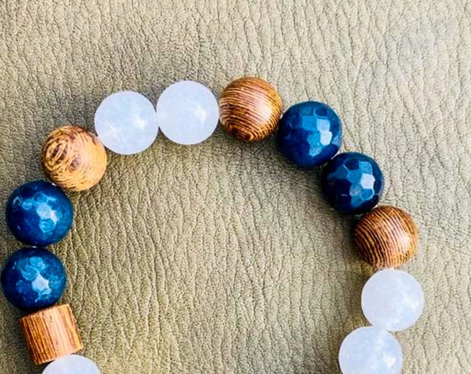 Wood + White + Deep Blue Quartz Stone Bracelet (inspired by Dear Heart)