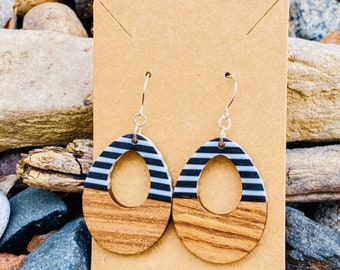 Wood & Black and White Resin Teardrop Earrings