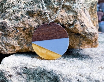 Sunray & French Sky Blue Lg Color Blocked Resin and Wood Pendant Necklace (inspired by Dear Heart)