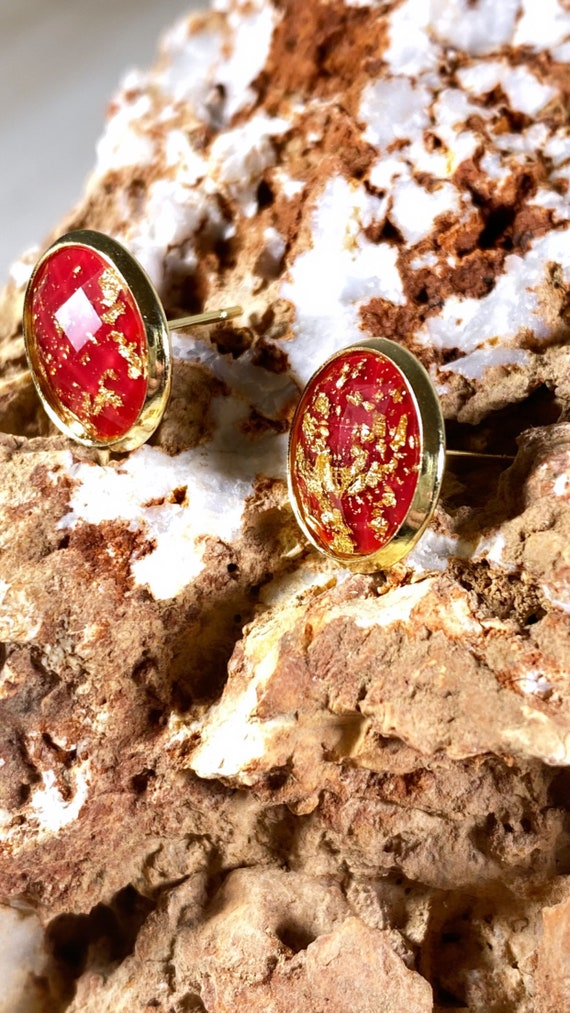 Maroon Red + Gold Leaf Faceted Stud Earrings