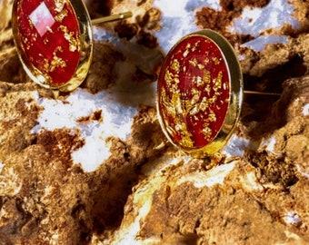 Maroon Red + Gold Leaf Faceted Stud Earrings (inspired by Dear Heart)