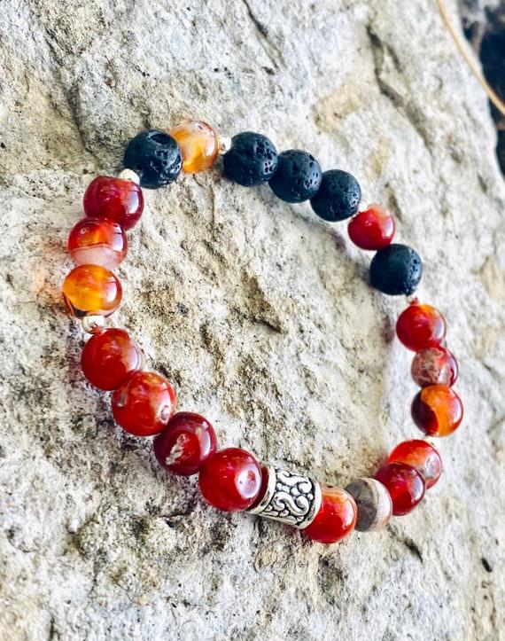 Fire Red Agate + Lava Stone Bracelet