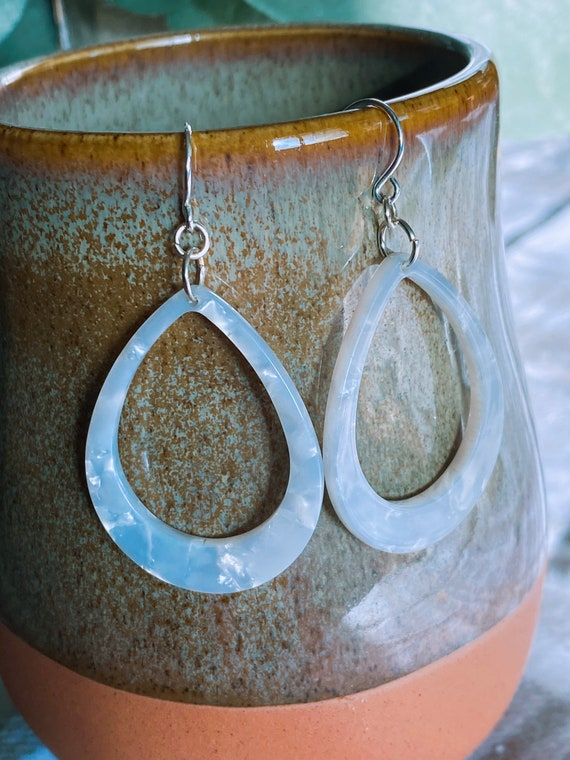 Pearl Acetate Teardrop Earrings