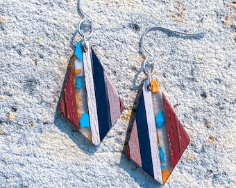 Color Blocked Resin and Wood Diamond Pendant Earrings (inspired by Liz)