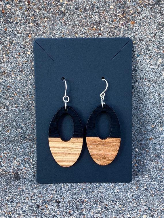 Wood & Jet Resin Oval Earrings