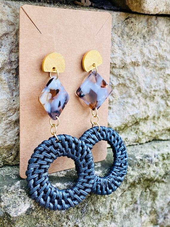 Diamond Shape + Black Straw Dangle Earrings (w/ Satin Etched Post)