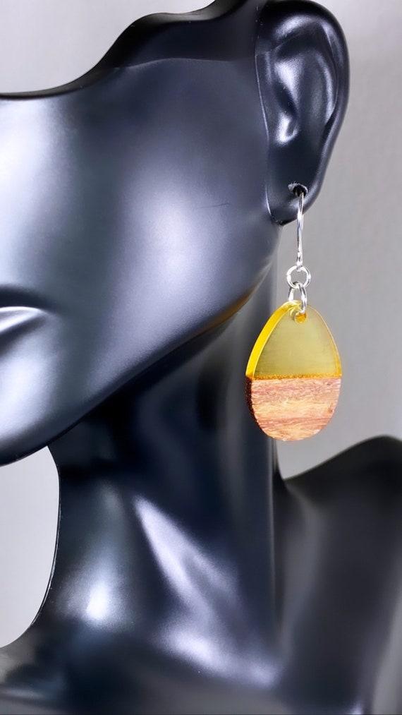 Wood & Lemon Yellow Resin Solid Drop Earrings