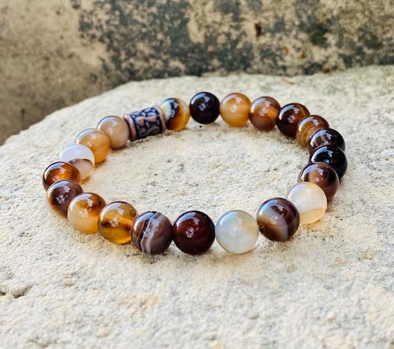 Natural Brown Agate Stone Bracelet