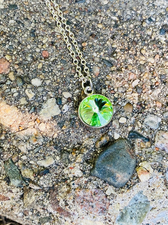 Green Swarovski Crystal Necklace (August Birthstone)