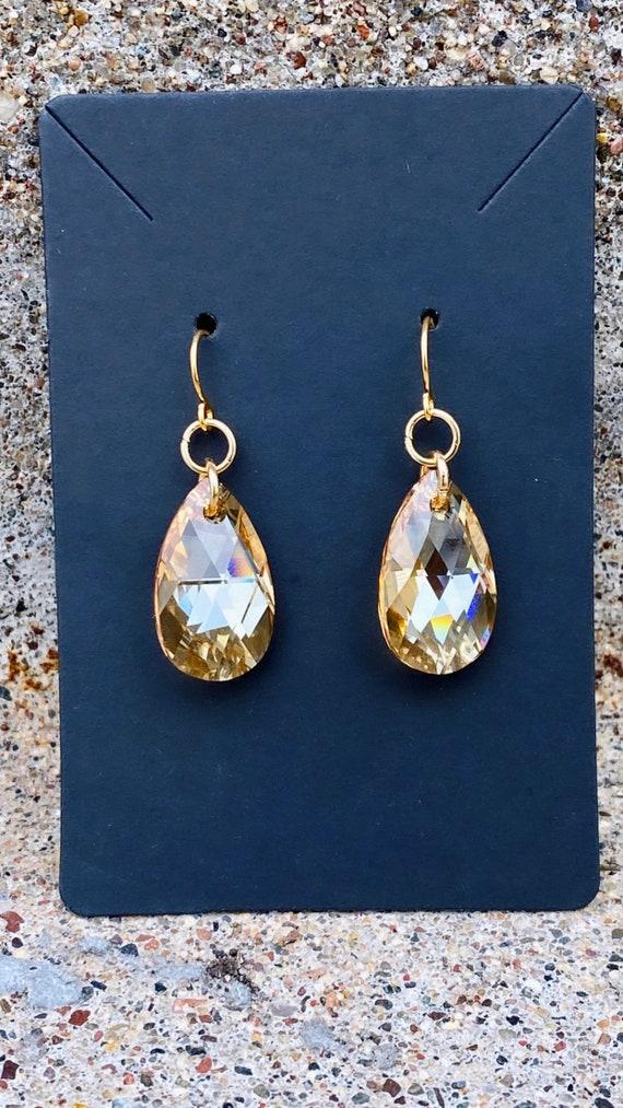 Golden Shadow Crystal Pendant Earrings | Swarovski Crystal
