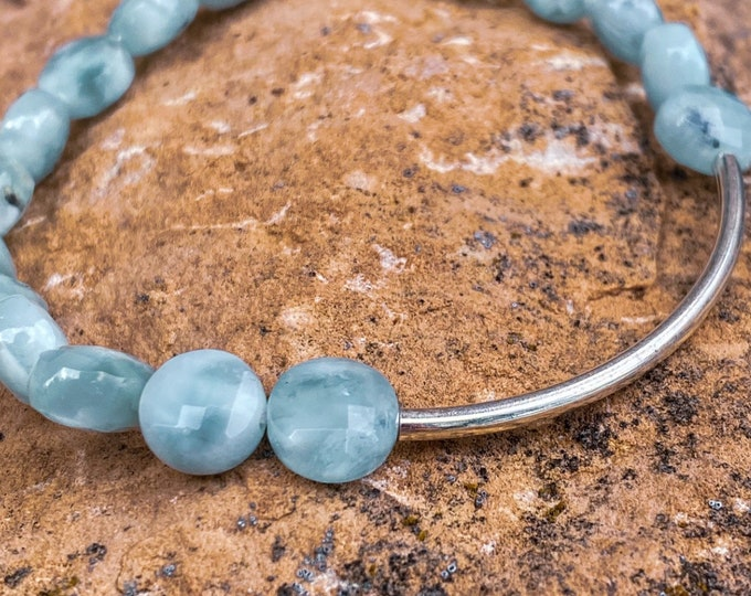 Green Angelite Faceted Flat Stone Bracelet w/ Accent Bar (inspired by Dear Heart)